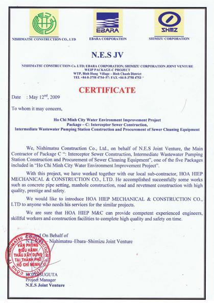 N.E.S Certificate