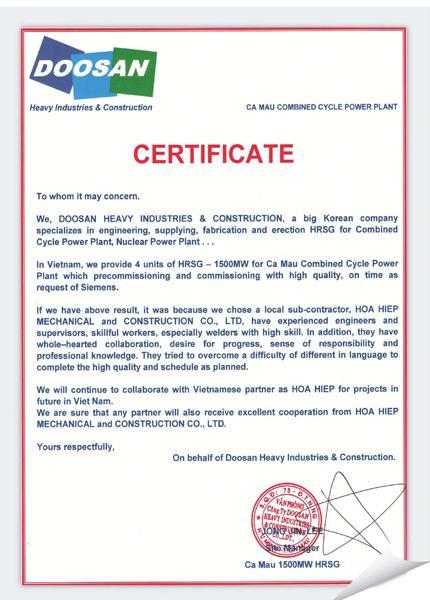 Doosan Certificate