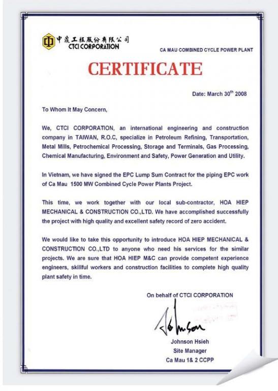 CTCI Certificate