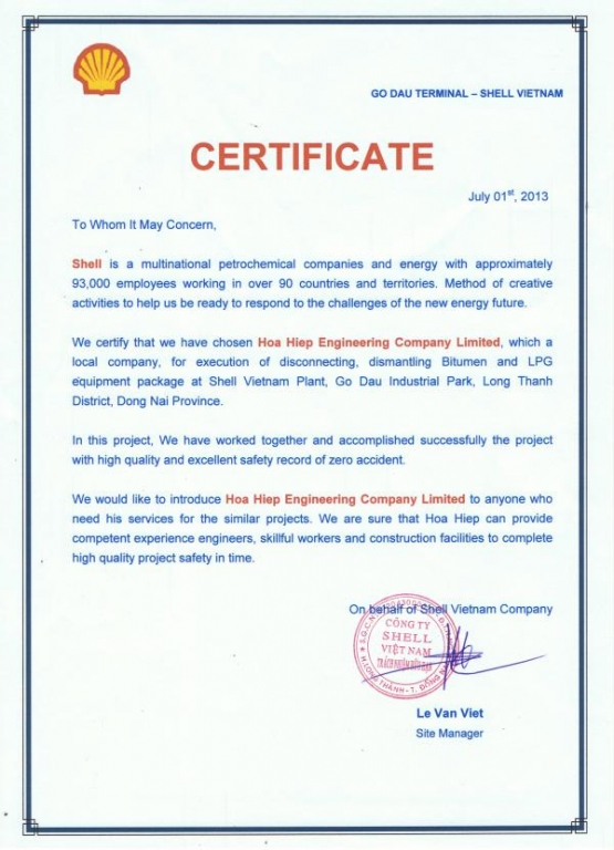 Shell Certificate